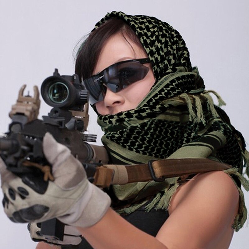 Hombre mujer ejército verde algodón militar táctico árabe chal bufandas envolver deportes al aire libre Camping senderismo cuello calentador Accesorios