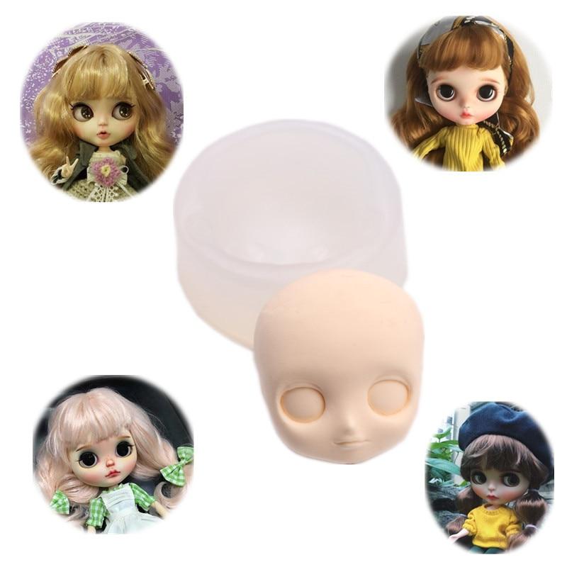 Envío Gratis molde de cara de muñeca 3D Blyth cara molde de silicona para chocolate caramelo, flan arcilla molde BJD SD molde accesorios de muñeca «hágalo usted mismo»