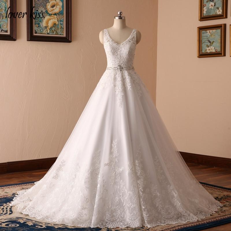 Lover Kiss-فستان زفاف من الدانتيل للنساء ، فستان هالتر ترابيز مطرز بالكريستال ، فستان زفاف
