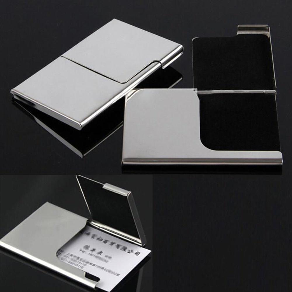 De bolsillo de acero inoxidable para tarjetas de identificación y crédito, caja de etiquetas con nombre comercial, caja de Metal para cigarrillos, contenedor 1 unidad