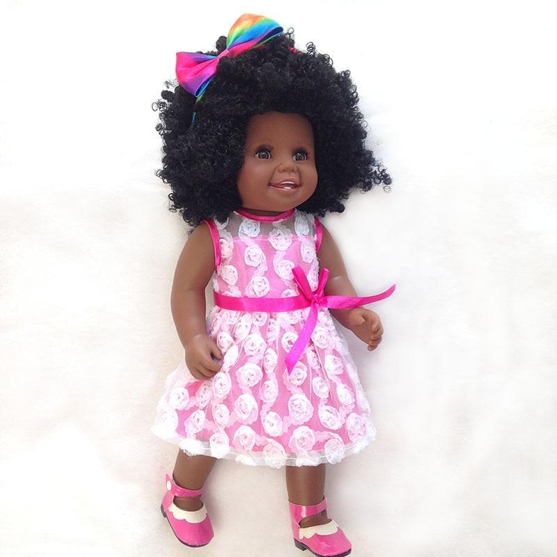 Black baby dolls African American baby 45cm l.o.l girl doll full vinyl body silicone dolls toys for children gift