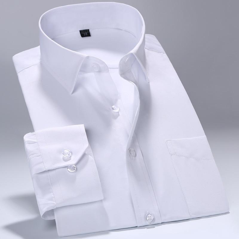 Белые профессиональные мужские рубашки с воротником, мужские рубашки с длинным рукавом и отложным воротником, повседневные однотонные муж...