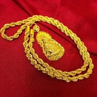 intage yellow gold filled buddha pendant necklace twisted chain buddhist beliefs necklace men women