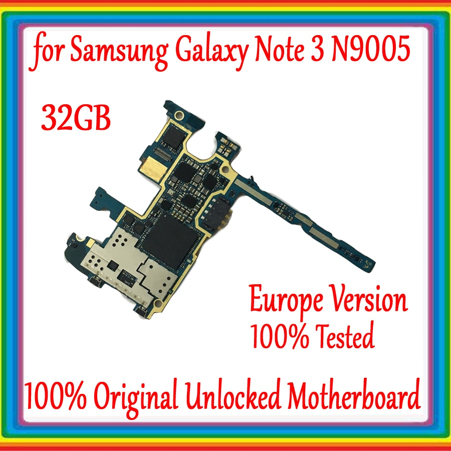 32GB Original débloqué pour Samsung Galaxy Note 3 N9005 carte mère pour Galaxy Note 3 N9005 carte mère Version ue