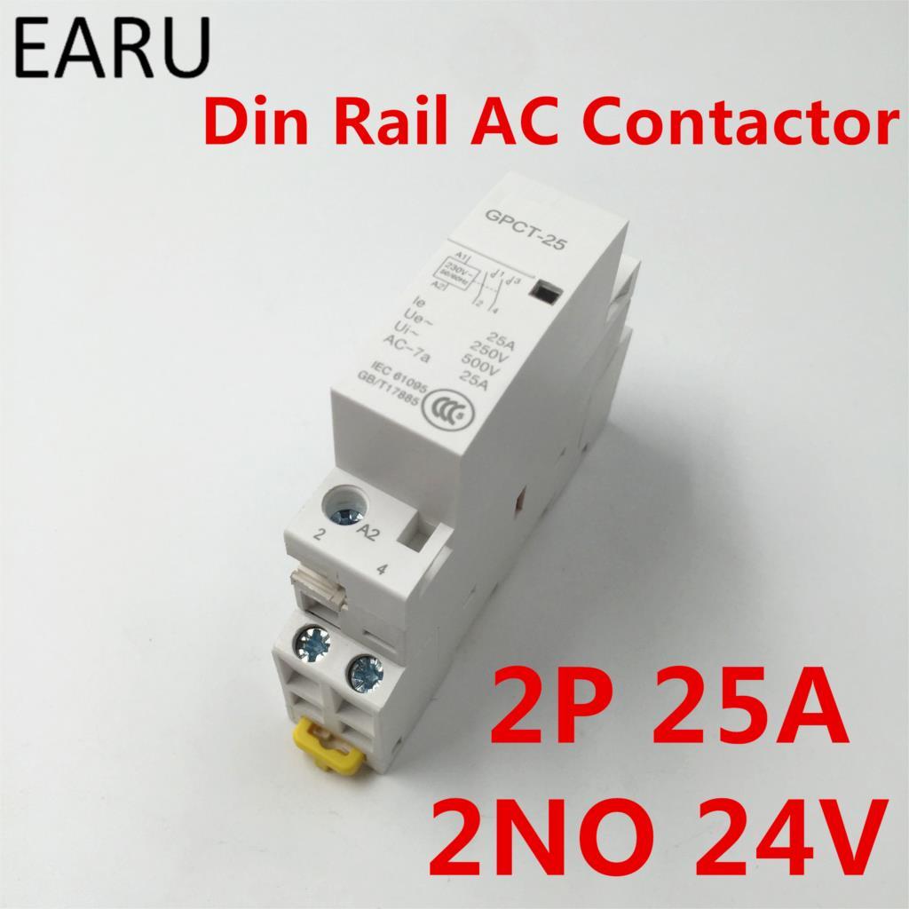 GPCT1 2P 16A 25A 24V 50/60 HZ, carril Din hogar Modular Ac...