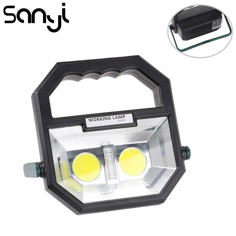Linterna de proyector portátil recargable USB sanyi para exteriores, impermeable, de 4 modos LED COB, lámpara de foco de emergencia para Camping senderismo