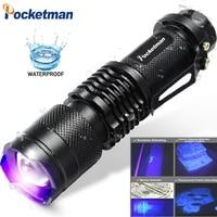 uv led flashlight high power torch 395nm black light wavelength violet lamp flash light aluminum light