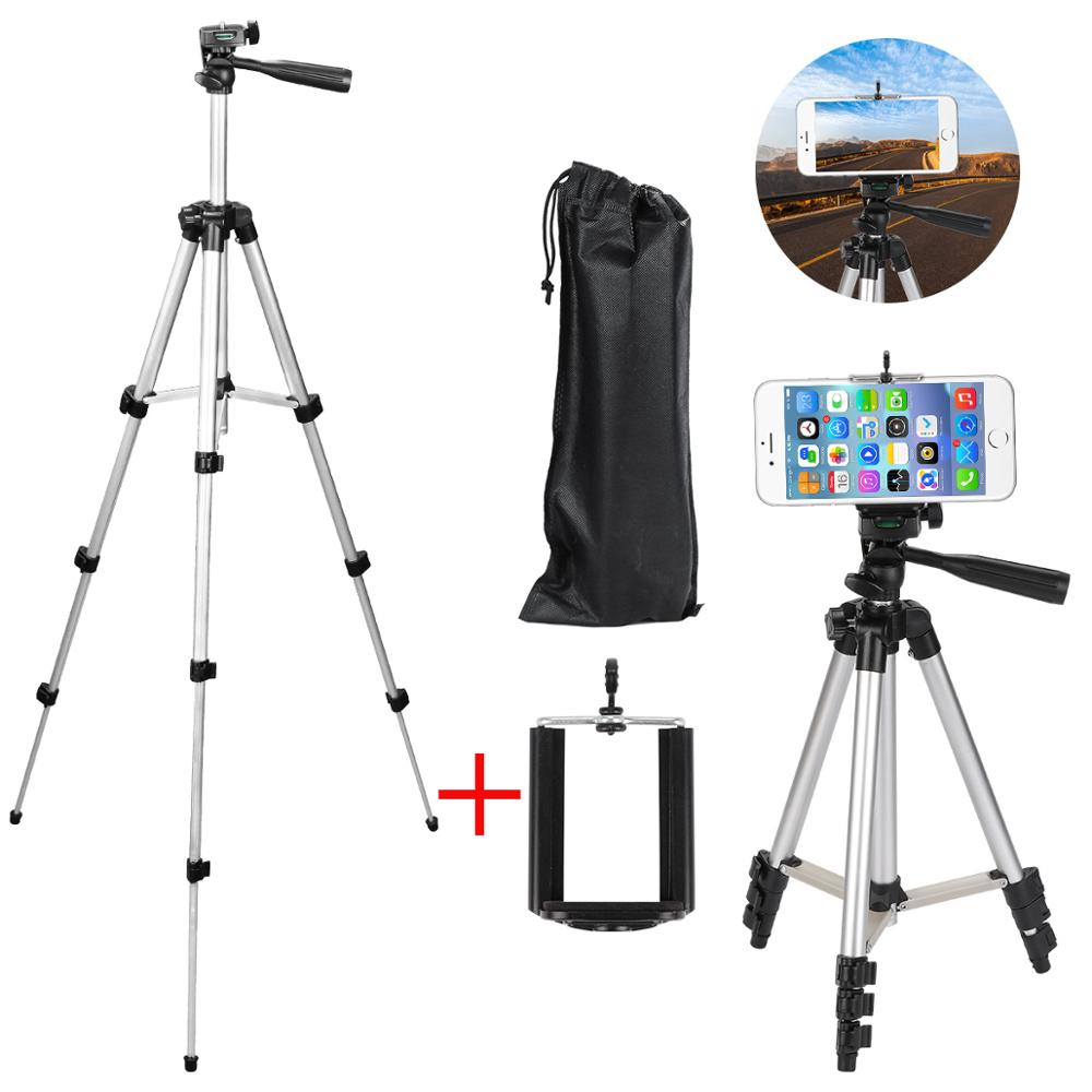 Professional Aluminum Camera Tripod Stand Holder + Phone Holder +Nylon Carry Bag for iPhone X 8 Samsung Smartphone