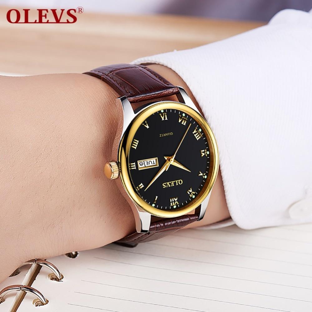 Business Quartz Watches Mens Auto Date Brown Leather Men Watch Rose Gold Reloj Hombre Male Clock Luminous Relogio Masculino Gift