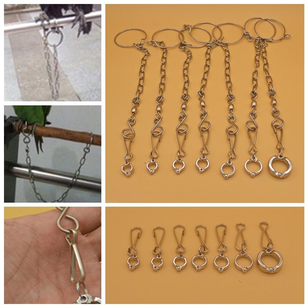 Loro pie cadena Acero inoxidable pájaros tobillera anillo plomo apto para entrenamiento de mascotas JCX9203