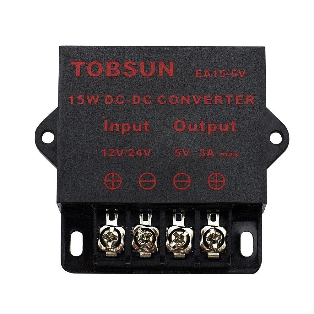 Adaptateur de tension universel, transformateur de convertisseur DC 12V 24V à 5V 3A 15 W, alimentation électrique universelle pour la télévision solaire