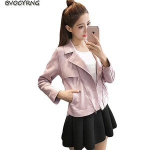 2018 New Hot Europe New Fashion Women Coats Spring and Autumn Jackets Suede Short Jacket Lady Lapel Slim Outerwear Tops A0793