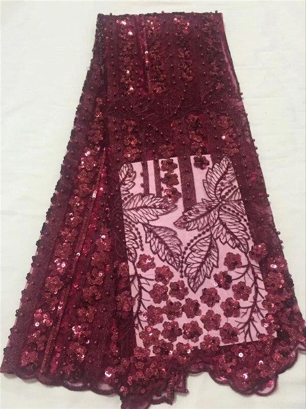 Африканская кружевная ткань винно-Красного цвета африканская вуаль французская кружевная ткань 3D цветок с бусинами 5 ярдов в партии свадеб...