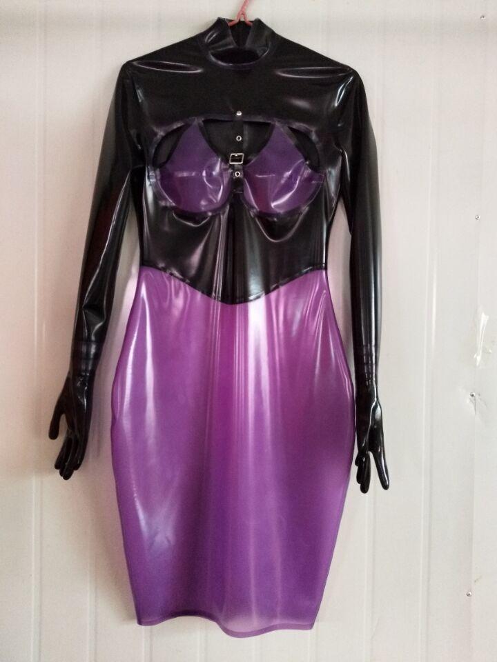 100% латексное платье черного и фиолетового цвета с пятью пальцами Юбки размер XXS-XXL