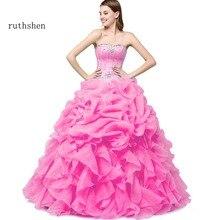 Ruthershen Vestidos De 15 Anos 2018 pas cher robes De Quinceanera avec veste vert menthe/rose vif/jaune Debutante douce 16 robes