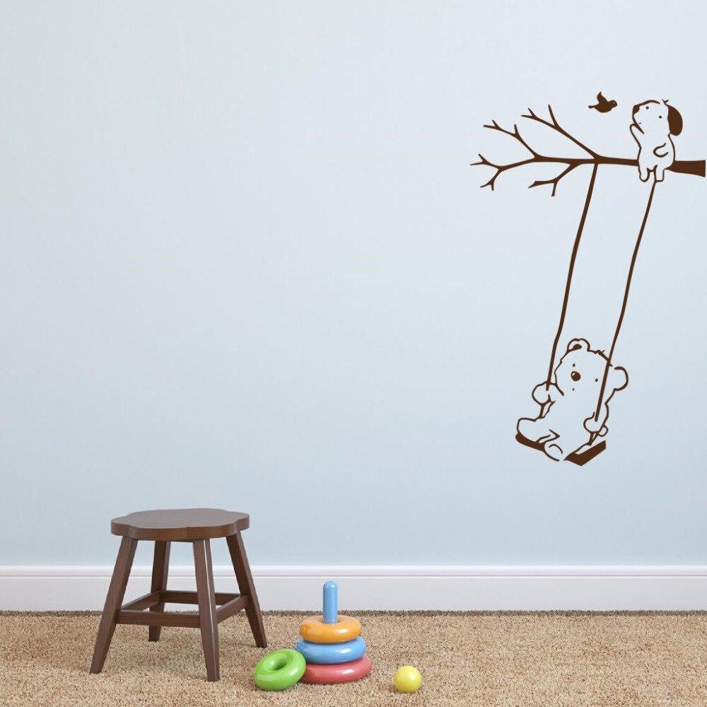 Pegatina de vinilo de oso en el columpio, pegatina de perrito, pájaro, vinilos decorativos de pared de árbol para habitaciones de niños, niños, niñas, decoración de salas de juegos para bebés