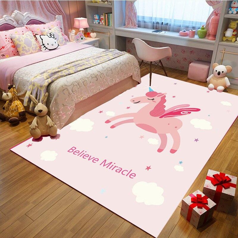 Pink Unicorn Print carpet Cute cartoon Child Room Game carpets for Living room bedroom bedside Baby Crawl Mat Kids Antiskid Rugs