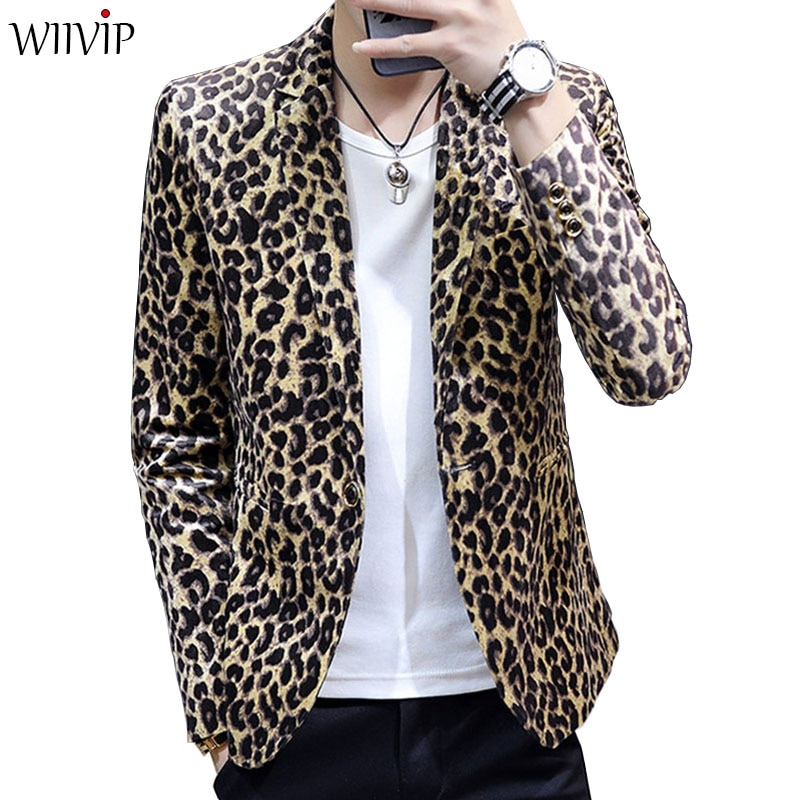 Nuevo Hombre estampado de moda leopardo cuello entallado manga completa suave blazer de tela abrigo masculino primavera otoño ropa de abrigo delgada 1122