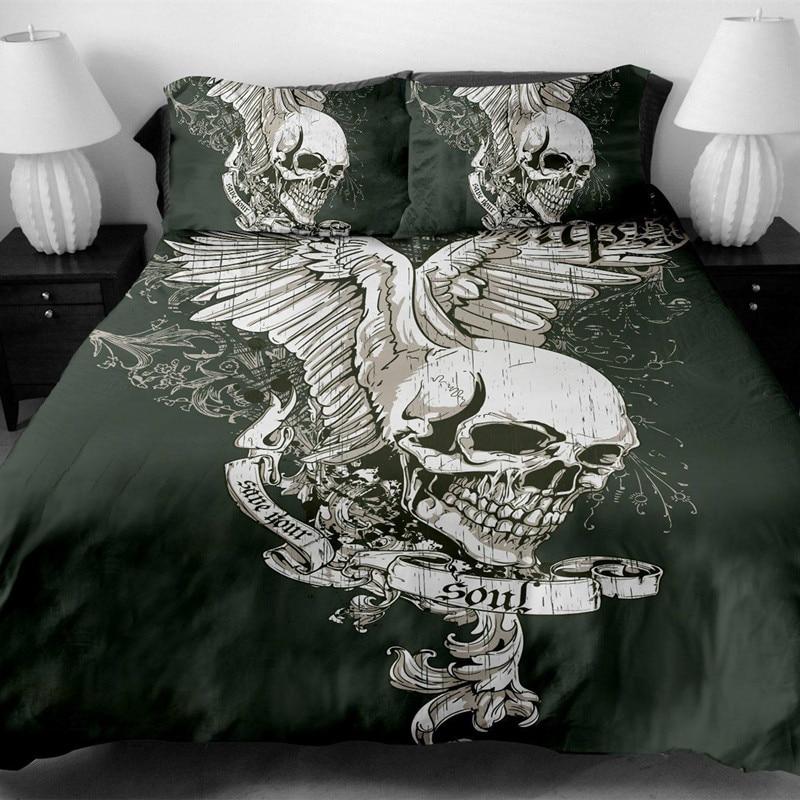 Fanaijia skull Bedding Set King size Bohemian skull Print Duvet Cover set with pillowcase AU Queen Bed best gift bedline