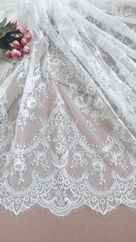 Tela de encaje con pestaña Chantilly blanca de 3 yardas, encaje nupcial, tela de encaje de boda retro con borde festoneado