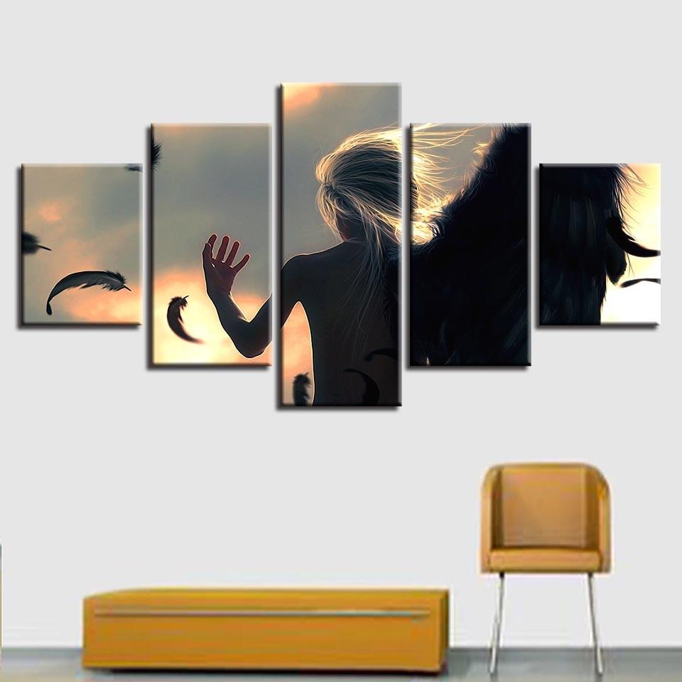 Marco para fotografías Modular, póster de 5 piezas, Ángel Con Alas negras,...