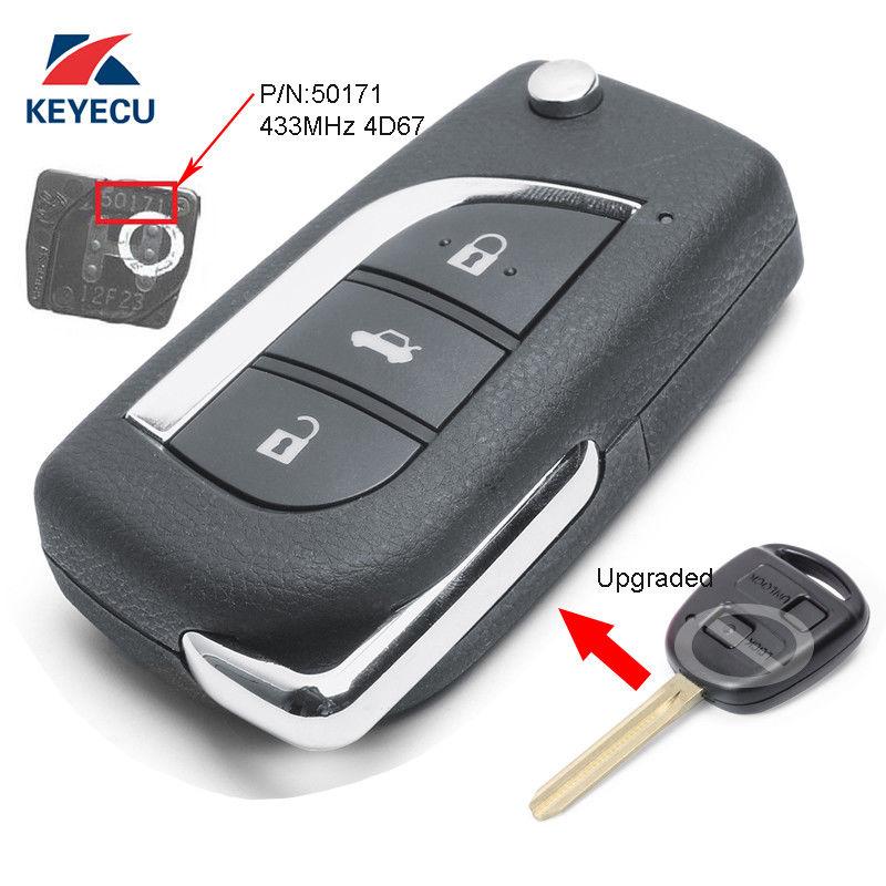 Mando a distancia con tapa actualizado KEYECU Fob 433MHz 4D67 para Toyota Prado 120 RAV4 Kluger 50171