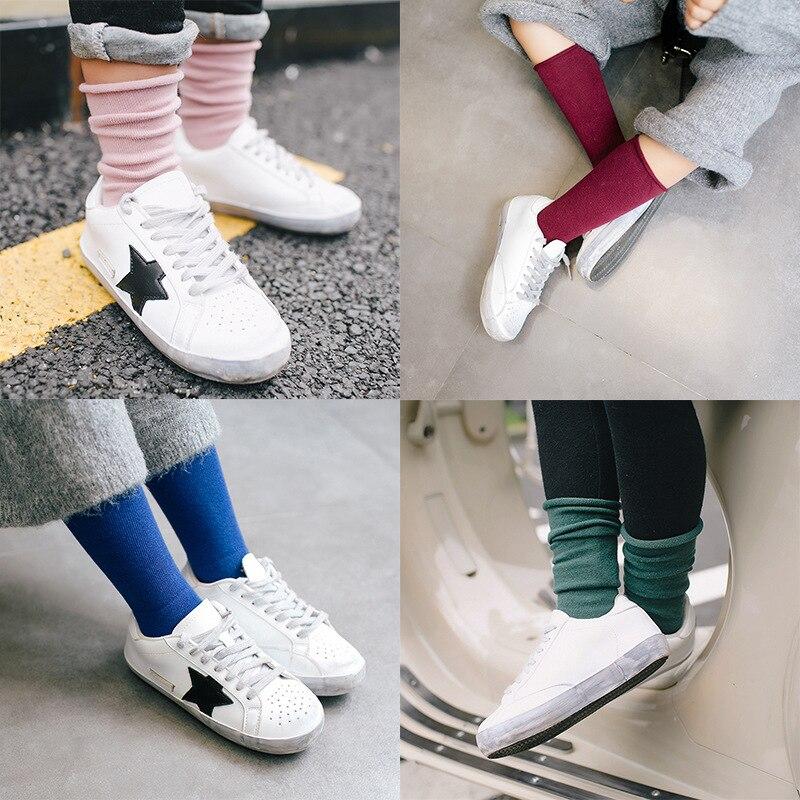 2017 niños niñas Unisex invierno Antumn moda cómodo suave colorido NIÑOS Calcetines nuevo sólido Casual Crew Mid Culf calcetín