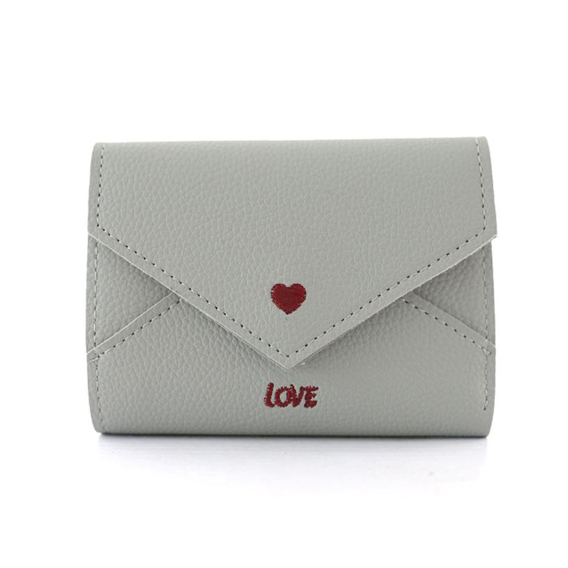 Aelicy Frauen Einfache Liebe Flip Leder Brieftasche Dünne Kurze Casual Haspe Solide Klapp Münze ID Kreditkarte Halter Geldbörse Taschen