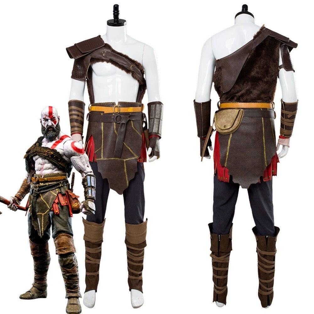 Deus da guerra 4 kratos nordic cosplay traje spartan batalha terno conjunto completo adulto homem traje de halloween feito sob encomenda