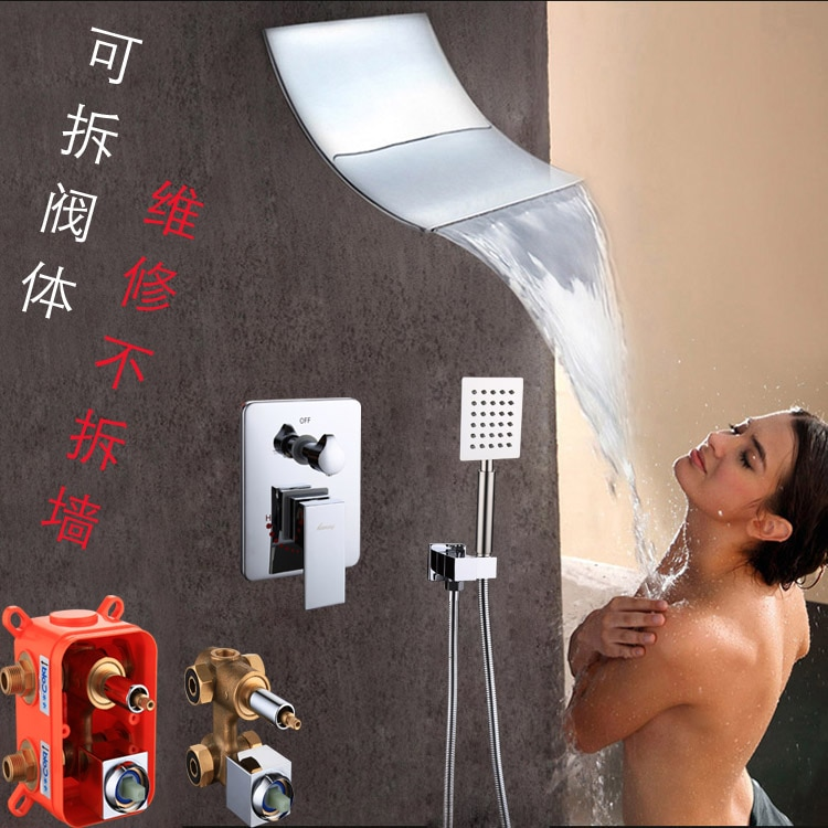 Bathroom Products Concealed waterfall Shower Faucet Mixer Copper Dual Functions Detachable box Valve taps bath&shower Faucet Set