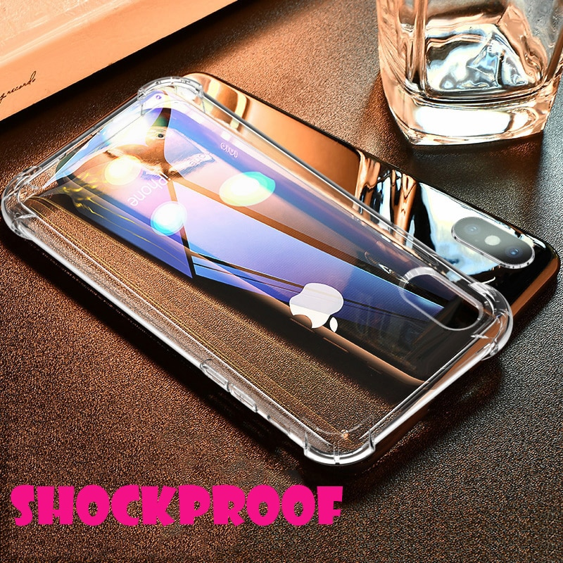 Carcasa Esamday para iPhone 7 8X6 Plus, carcasa para iPhone XS Max XR 5S 5 SE 7, fundas transparentes de silicona blanda a prueba de golpes
