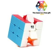 Qiyi Cube magique 3x3x3 coloré Cube de vitesse sans colle Puzzle jouets pour enfants adultes professionnel de haute qualité Base de cadeau