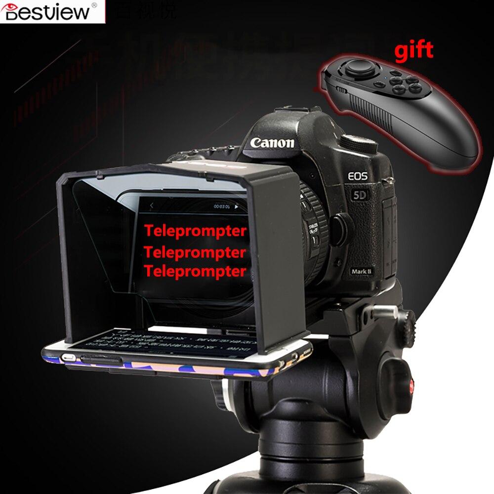 Bestview Smartphone Teleprompter para Canon Nikon Sony foto de cámara estudio DSLR para entrevista en Youtube Teleprompter de la cámara de vídeo