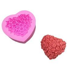 DIY мягкая глина, мыло ручной работы Пудинг Форма Сердце Роза шаблон помадка шоколада силиконовые формы