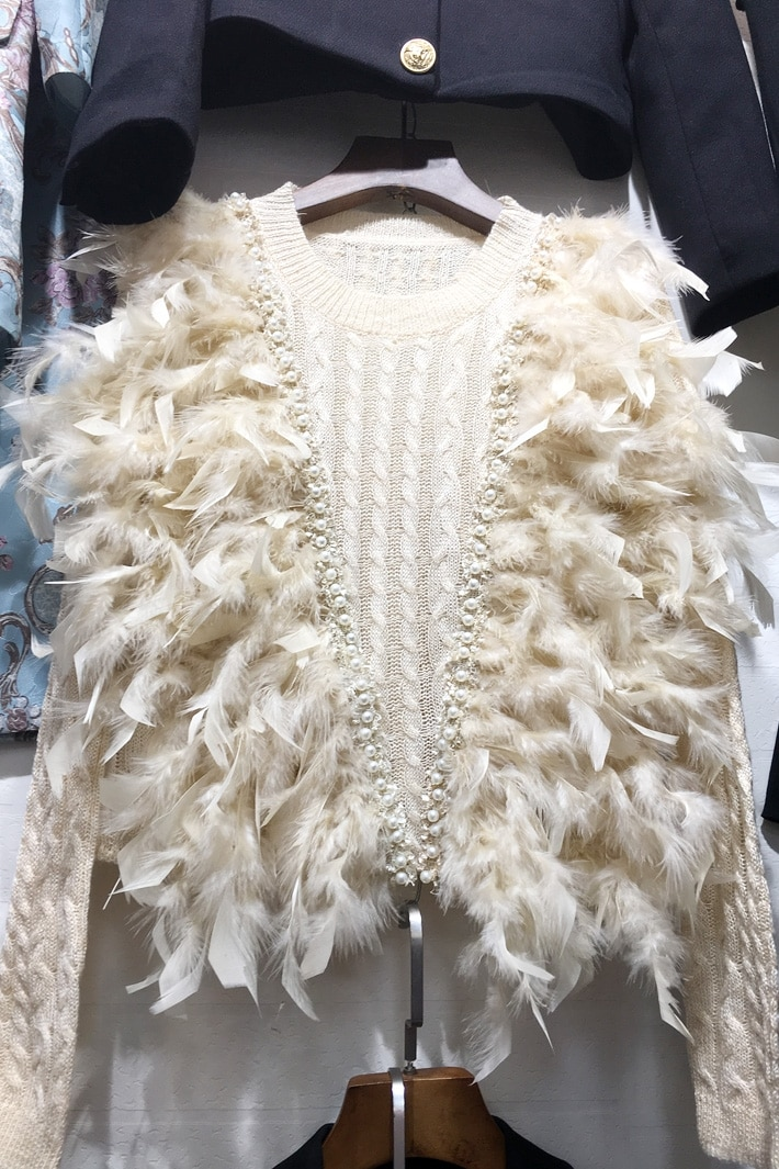 Poncho Promotion Women Sweaters And Pullovers 2018 New Women's Sweater Feather Beaded Sweet Anchor Network Thin Woman Pullover enlarge