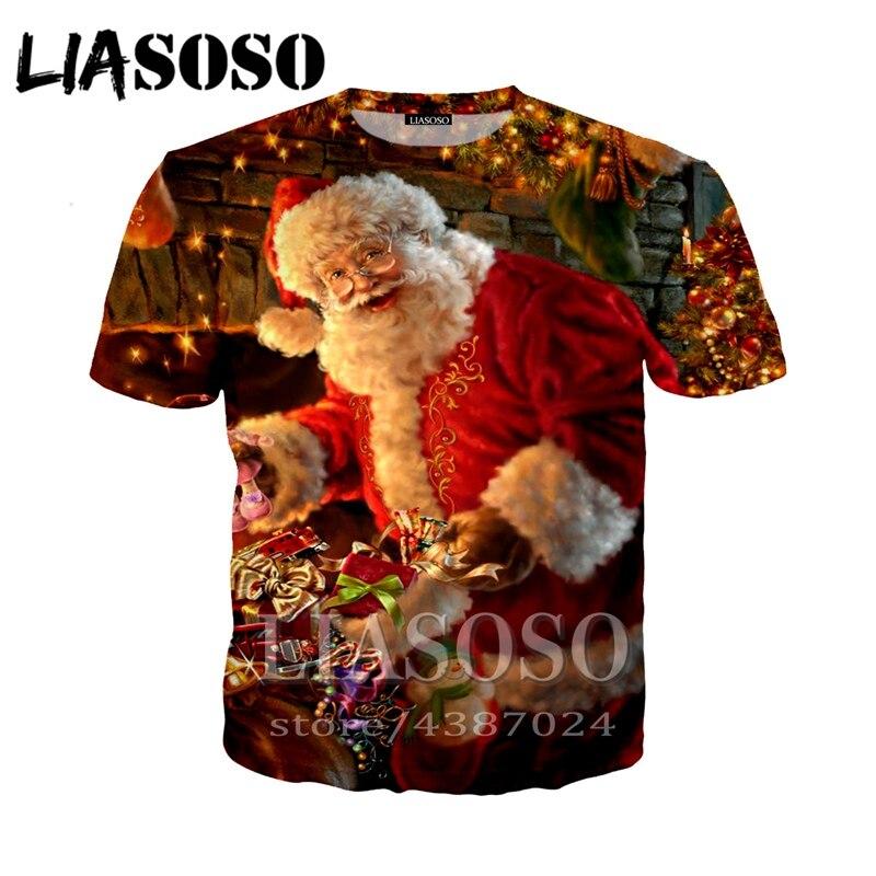 LIASOSO Navidad 3d impresión t shirt hombres mujeres camiseta casual Navidad Harajuku vacaciones Santa Claus camisetas homme tapas tshirtD339