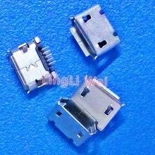 100 pz/lotto micro usb 5 p-pin dip2 lungo micro usb jack 5 pin micro usb connettore di coda presa di ricarica per il telefono diy accessori