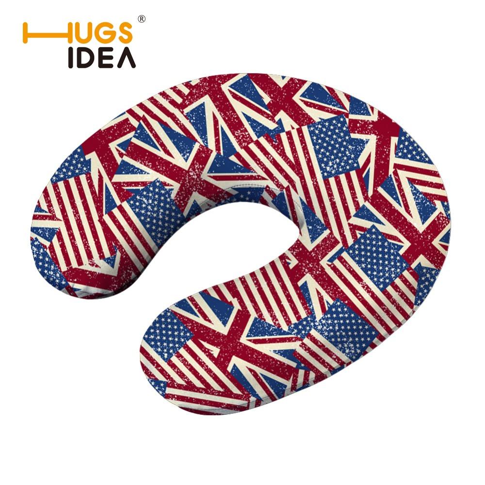HUGSIDEA Printing USA UK Flag U-shape Pillow Memory Foam Travel Neck Pillow Comfort Headrest Neck Pillow for Flight Travel