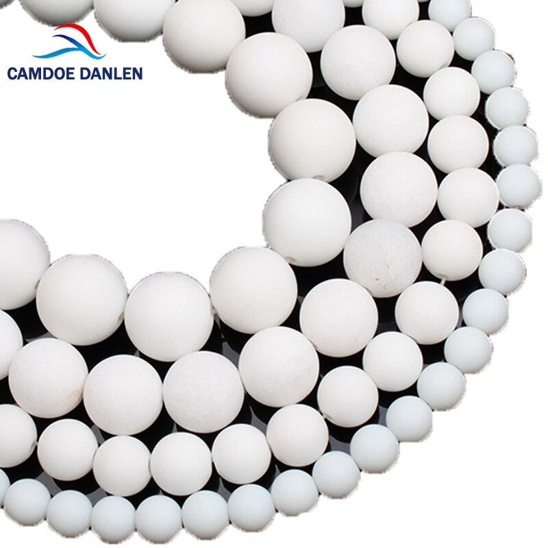 Camdoe danlen 天然石霜白セラミック鈍いポリッシュマットラウンドスペーサールースビーズ 6 8 10 12 ミリメートル diy ブレスレット & ネックレス