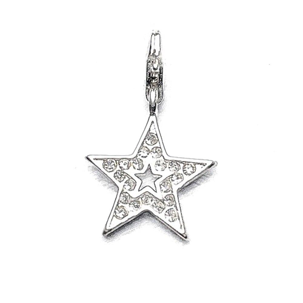 Dijes o colgantes de estrella de cinco puntas brillantes plateados, pulsera de ajuste, bolso de collar, moda Glam, pentagrama, abalorio, regalo de joyería para mujeres