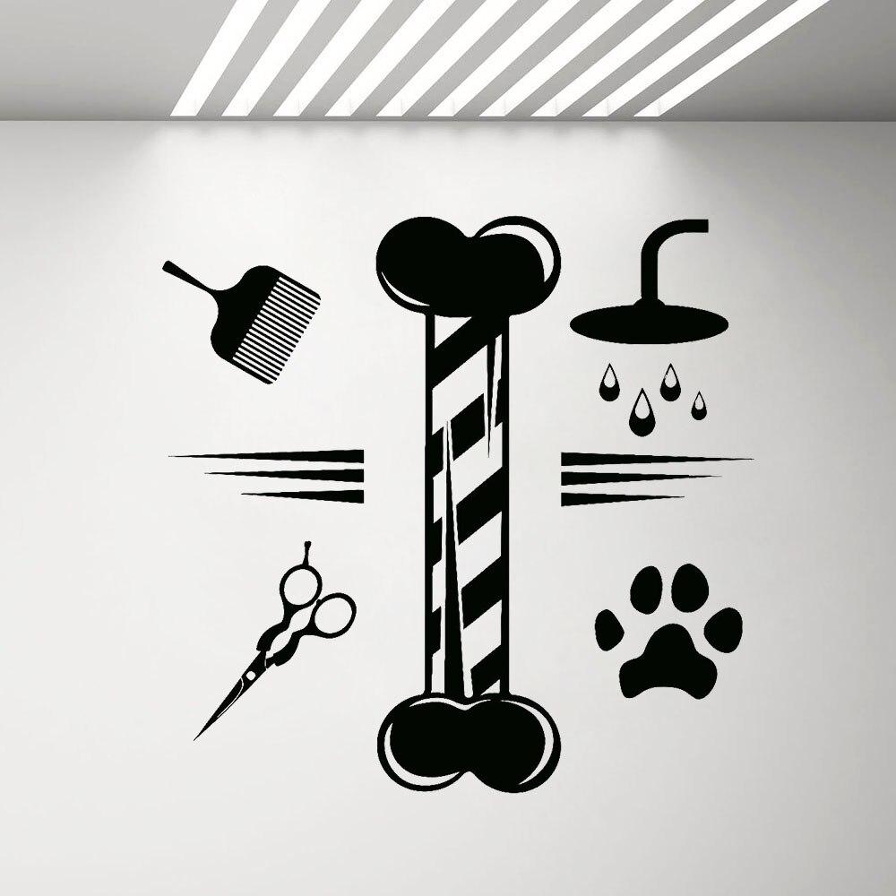 Cão banho cuidados com unhas serviços sinal pet shop decalque da parede grooming salão de beleza decoração animais de estimação adesivos janela g329