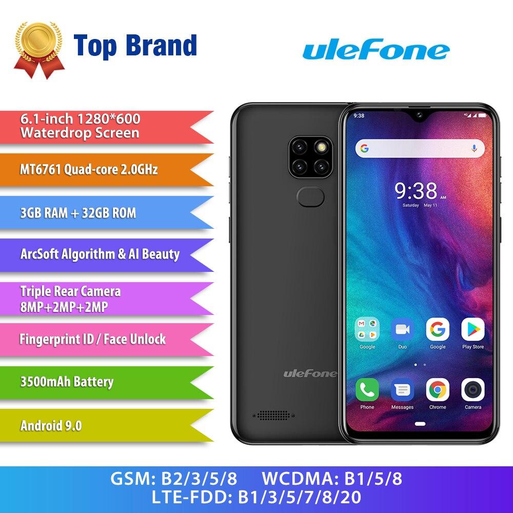 Ulefone Nota 7P Smartphone Android 9,0 teléfonos móviles Quad Core 3500mAh 6,1 pulgadas de agua pantalla 3GB + 32GB teléfono móvil desbloqueo facial
