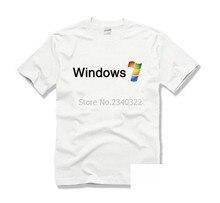 Sistema operativo IT computarizado, Microsoft Winows 7, Camiseta de algodón, pantalón corto informal, camiseta de manga