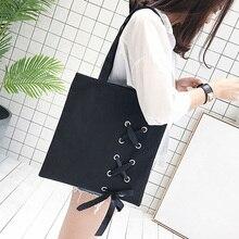 Yeni kadın rahat dantel-up kanvas Tote çanta kadın tuval omuz çantaları crossbody çanta kadınlar için plaj çantası bolso mujer (siyah)