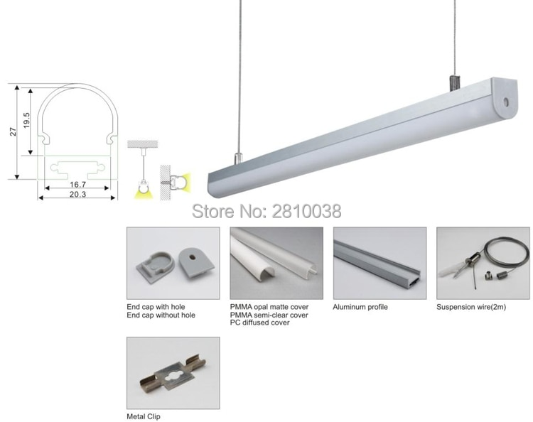 10 x 1M Sets/Lot Anodized Aluminium profile round and aluminium extrusion channel profiles for suspension or pendant lights