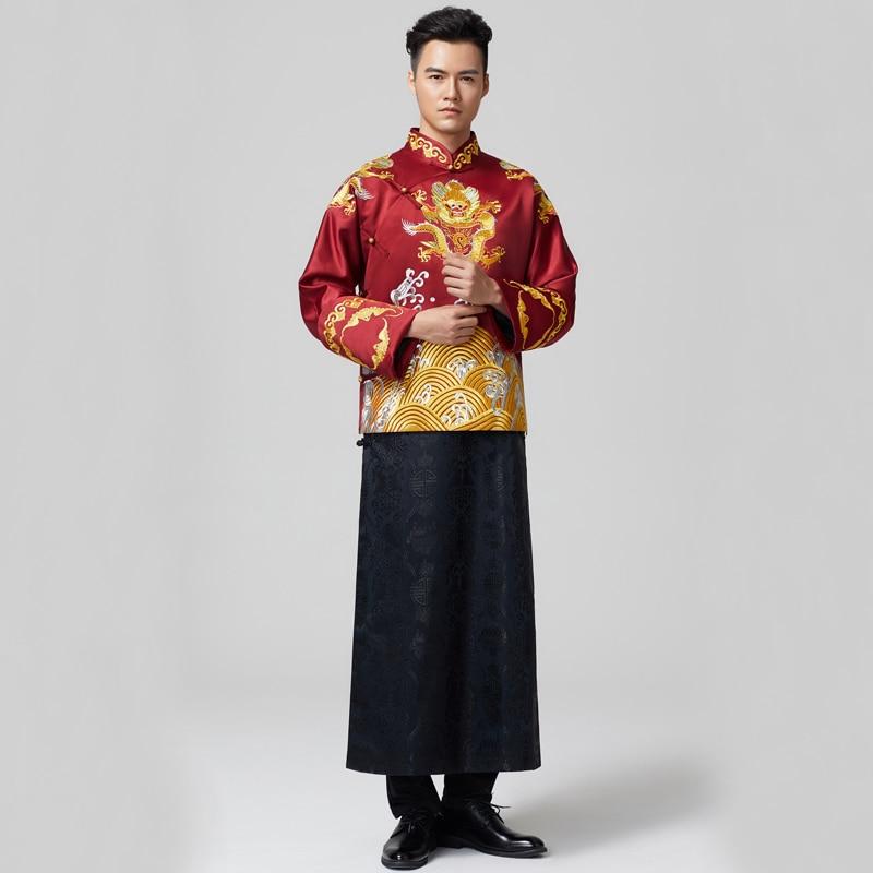 Dragón elemento macho Tang trajes traje de boda chino novio chino tradicional boda traje novio traje chaqueta + Bata