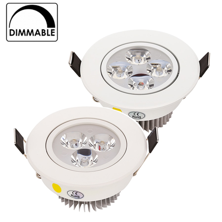 AliExpress - 9W 12W 15W LED Downlight  Dimmable Warm White Nature White Pure White Recessed LED Lamp Spot Light AC85-265V