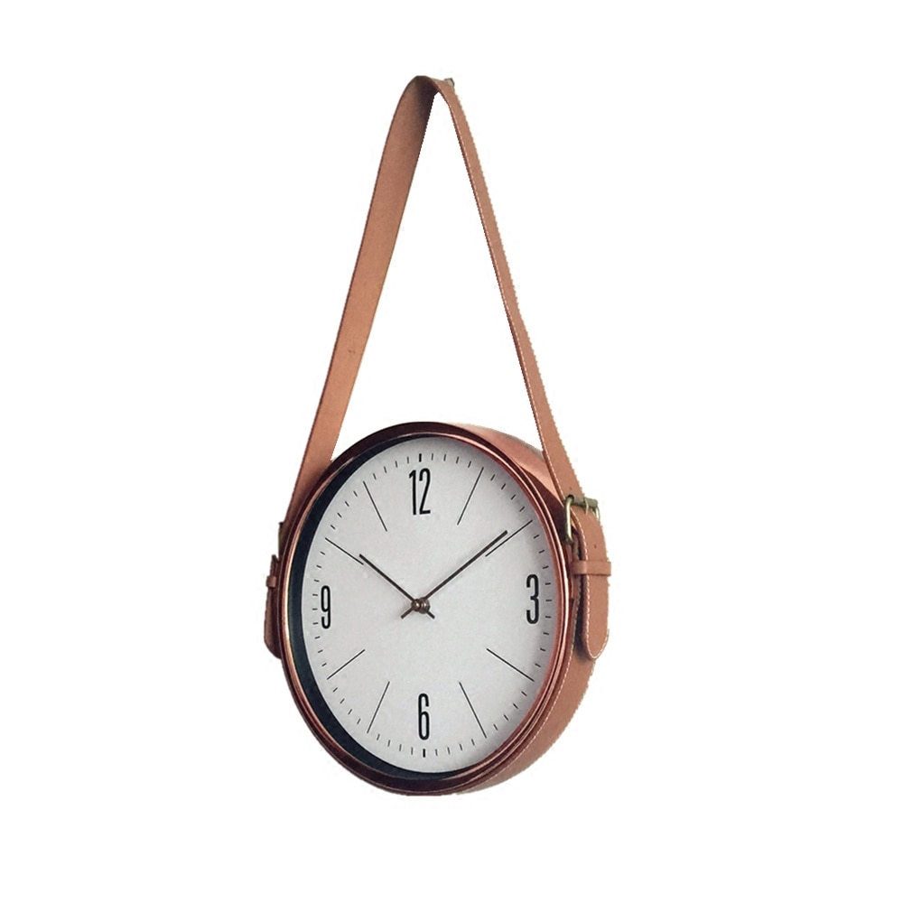 New Creative Leather Belt Exquisite European Style Wall Clock Muted Durable Quartz Living Room Bedroom Moistureproof Clock C348