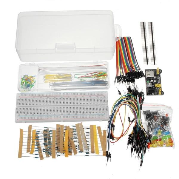 Новое поступление блок питания 830 отверстие макетная плата резистор конденсатор светодиодный комплект для Arduino начинающих