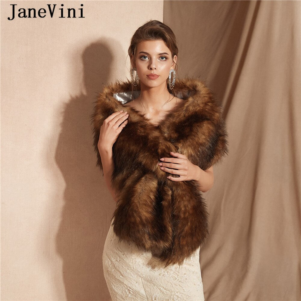 JaneVini High Quality Warm Cape Faux Fur Stoles Wedding Wraps Winter Bridal Shawls Girls Bolero Jacket Women Wedding Accessories